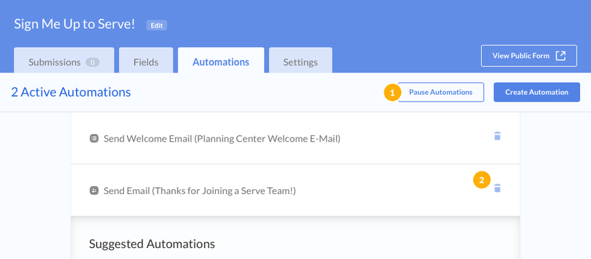 created automations
