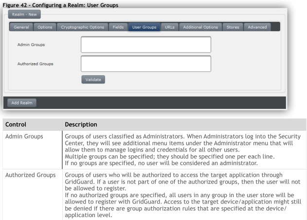 User Groups Tab