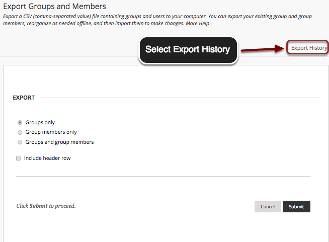 Image of the Export Groups and Members screen with the Export History button in the top right corner outlined in a red circle with an arrow pointing to it. A textbox reads Select Export History
