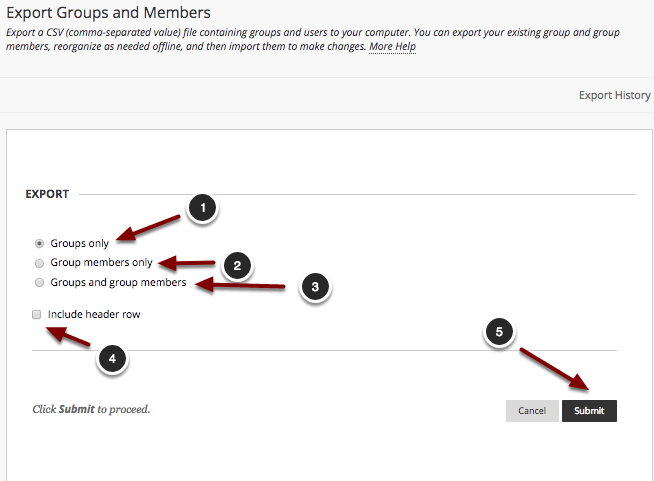 Image of the Export Groups and Members screen. Under the section labeled Export, there are three choices that users can select using a radio button. The first option is labeled Groups only, and an arrow and a number 1 point to this option. The second option is labled Group members only, and an arrow and a number two point to this option. The third option is labeled Groups and group members, and an arrow with a number 3 points to this option. Below these three options is a fourth option, preceded by a checkbox, labeled Include header row. An arrow and a number four point to this option. In the bottom right corner, is a button labeled Submit, with an arrow and a number 5 pointing to it.