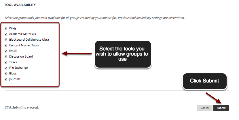 Image of the Tool Availability section showing the list of availabile tools in a red box with an arrow pointing to it. Instructions indicate to check the checkboxes next to the tools you wish to use. In the bottom right corner is the Submit button with an arrow pointing to it. Instructions indicate to click Submit.