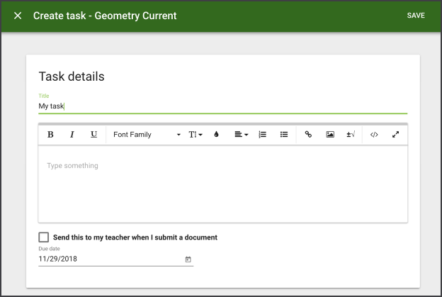 Image of the Create Task screen.