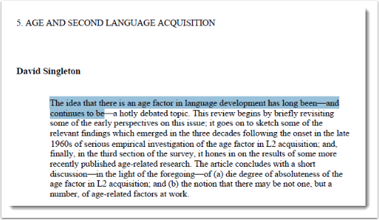 Some text is selected in the PDF document.