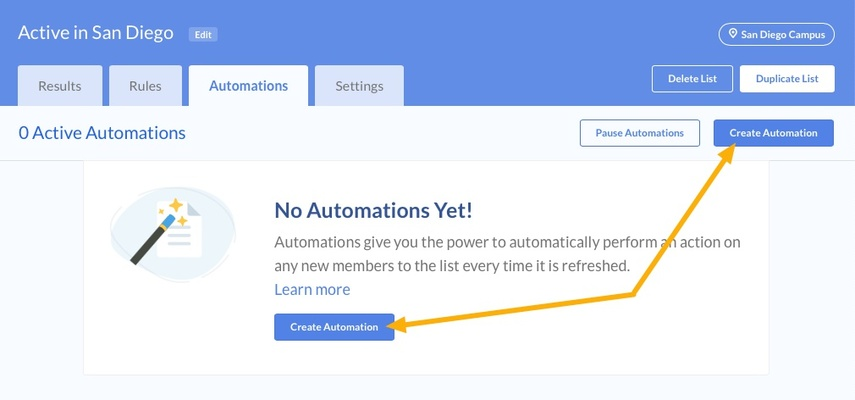 Click the Create Automation Link