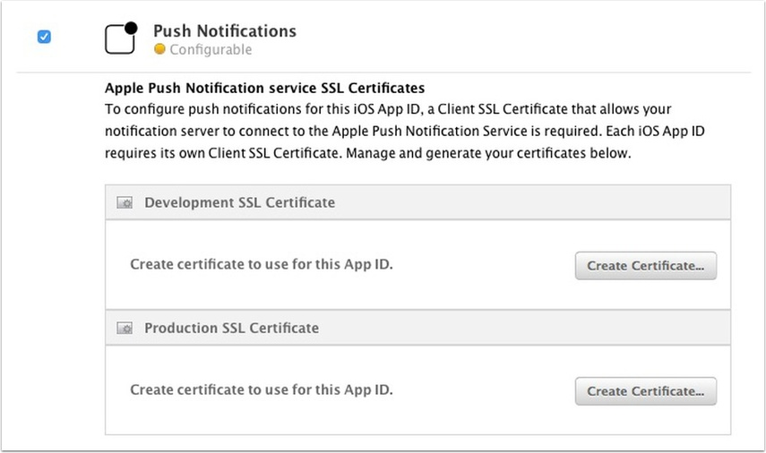 Activate push notifications for the App ID