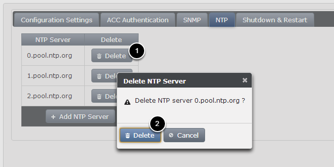 Deleting NTP Server
