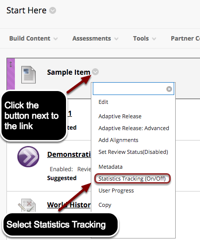 Image of a content item with an arrow pointing to the chevron next to the item with instructions to click the button next to the link.  A menu is visible on screen with Statistics Tracking (on/off) outlined with a red circle with instructions to select Statistics Tracking.