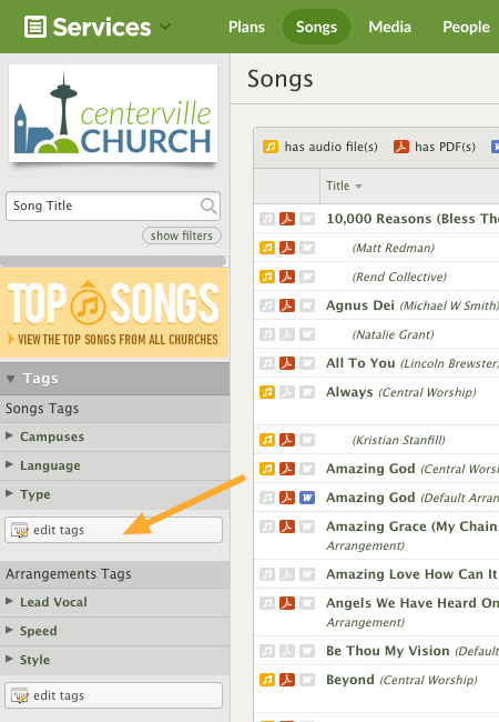 edit tags from the song page