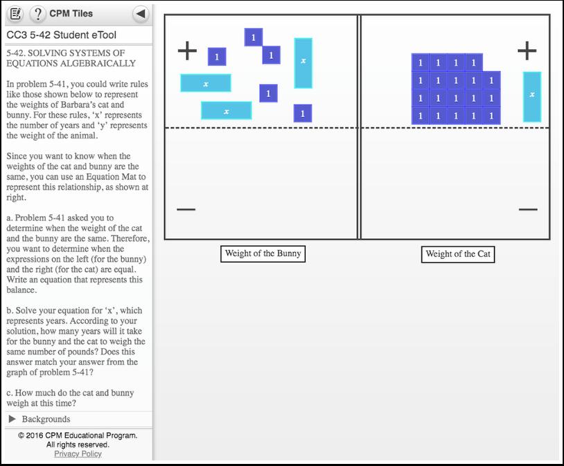 CC3 5.2.3: 5-42 Student eTool (CPM) | CC Course 3 eTools ...