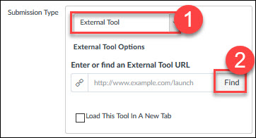 Canvas Assigment External Tool submission type selection