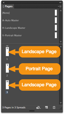 Drag more V or H masters into the Pages panel to create additional orientation-specific pages in your layout.<br />