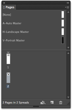 Drag the other orientation master below Page 1 in your Pages panel to create an alternate layout.