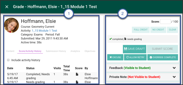 The Activity Grader Student Screen showing the two panels that display student information.