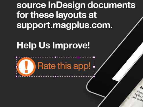 In InDesign, create an item that will be used to get your users to rate the app.