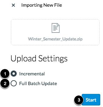 Select Upload Settings