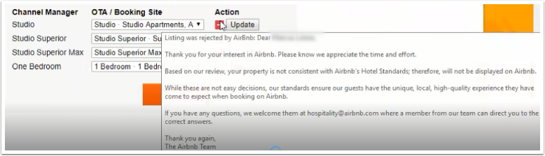 Errors during Airbnb API mapping process and issues after connection