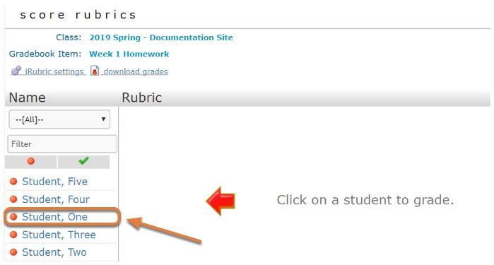 rCampus Grade page