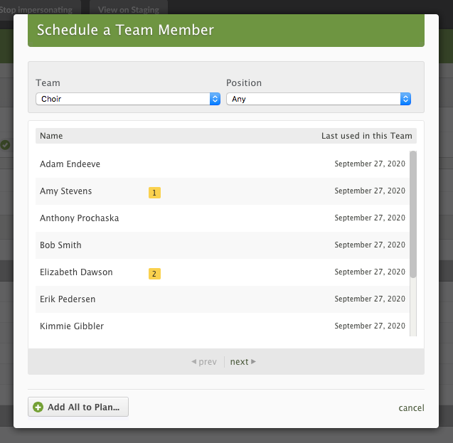 Type in the name of your group or team, then select it from the list.