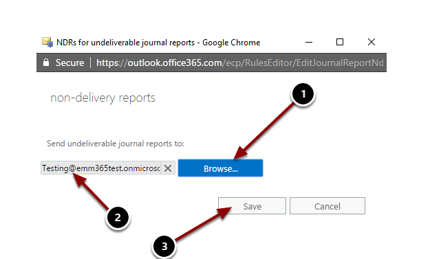Setting up the rollback address for undeliverable journal reports