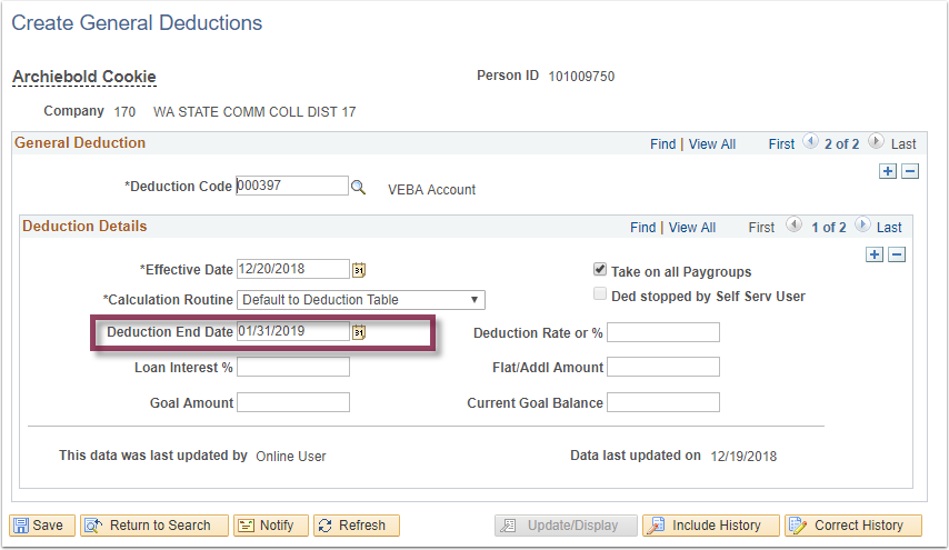 Create General Deductions page