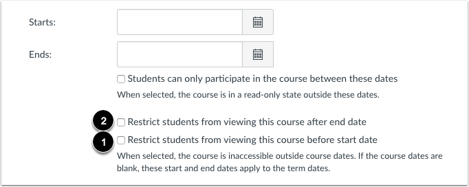 Set Restriction Options