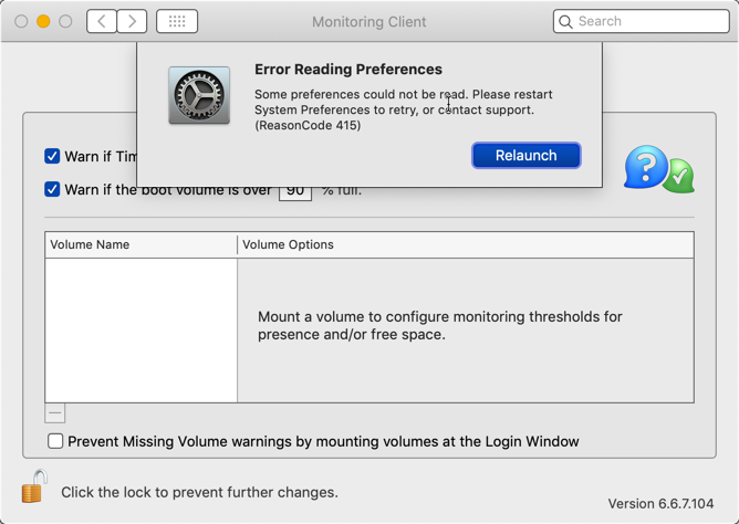 Error Reading Preferences
