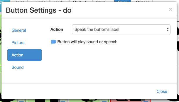 Action button settings