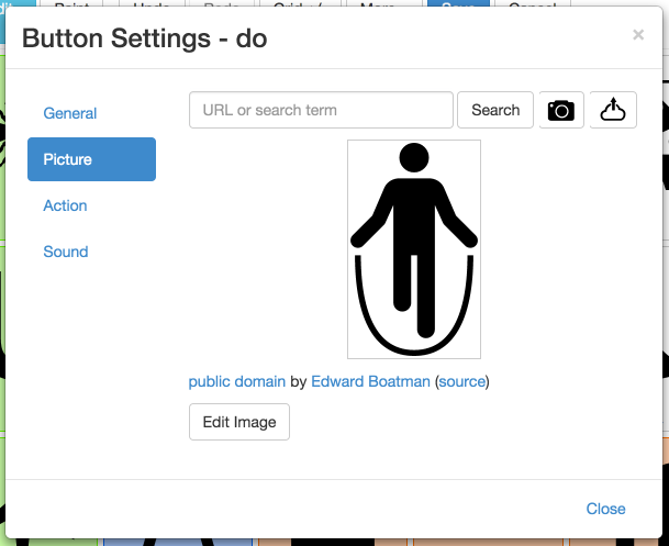 Picture button settings