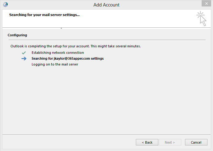 Outlook will search for settings