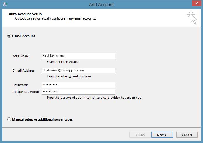 Auto Account Setup