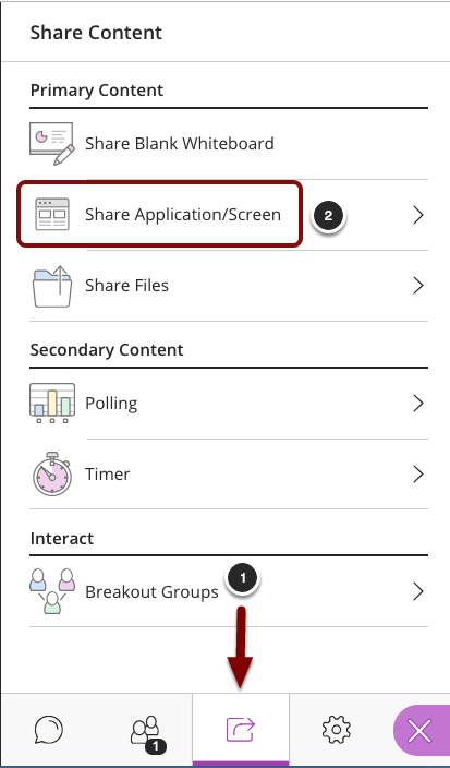 image of the Collaborate panel showing the following items: 1.In the Collaborate Panel, click on the Share Content tab.2.Select Application Sharing from the menu.