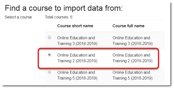 Select the course where the quiz is located.