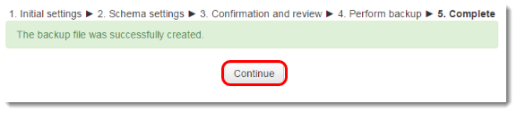 Continue button is selected.