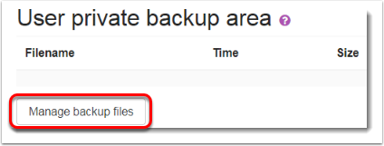 Manage backup files button is selected.