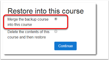 'Merge the backup course into this course' is selected.