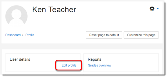 Edit profile link is selected.