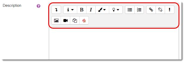 Description content area is selected