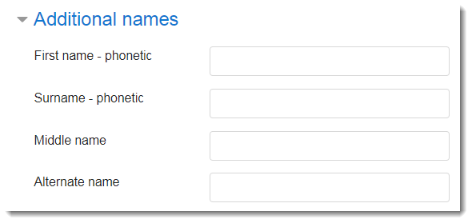 Additional names fields are selected.