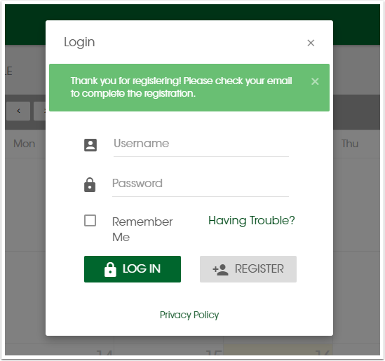 Self Service - Log-in and Register