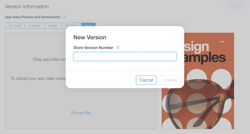 "In the window that appears, enter the new version number of your app and click on ""Create."""