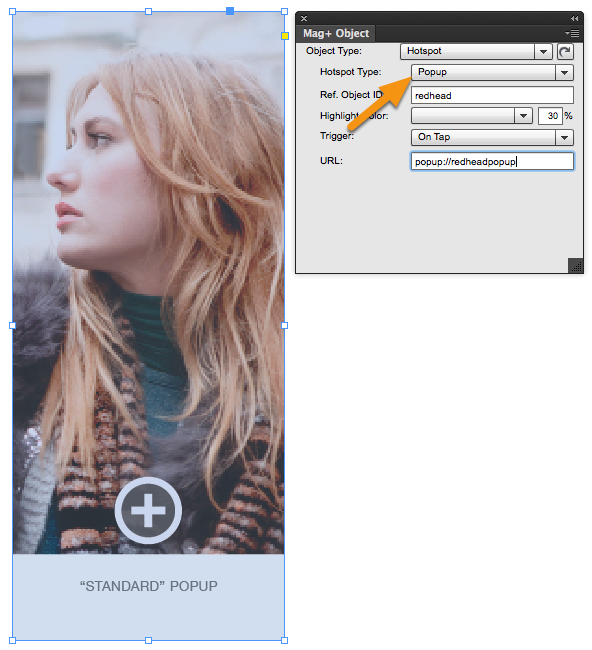 In the Mag+ Objects Panel, make sure the Hotspot Type is set to Popup.