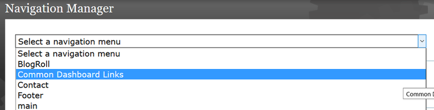 Select Common Dashboard Links.