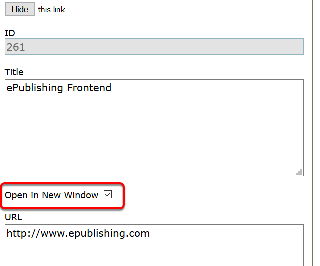Final thought: As a best practice, make your links open in a new window by clicking the checkbox next to Open in New Window.