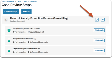 If you need to add more than one committee to a step in the template, click the edit pencil