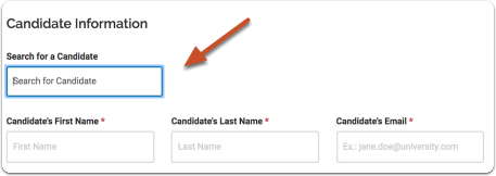 Search for the candidate or add the candidate to the system