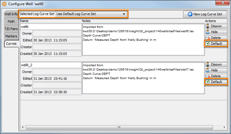 Using multiple default or selecting multiple files for well curves