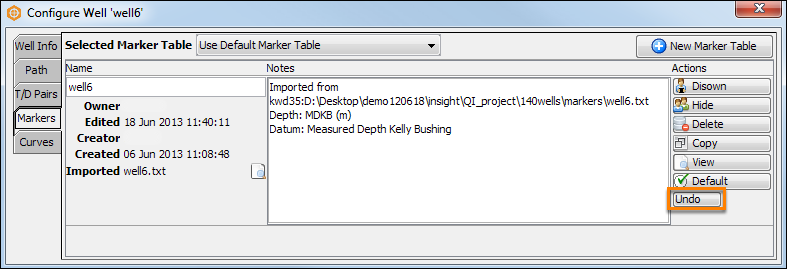 Undo/redo change in a well component