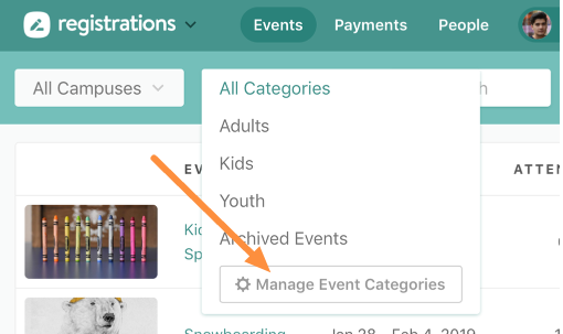 manage event categories