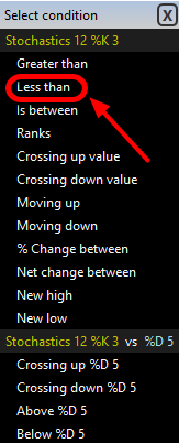 4. In the Select Condition window click Less Than.