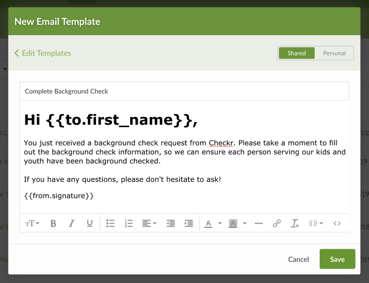Email Templates – Services